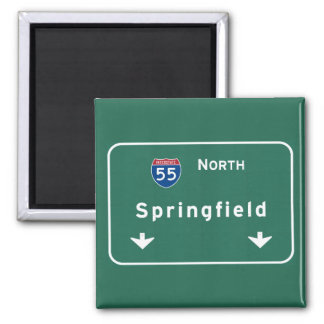 Springfield Illinois Interstate Highway Freeway : Square Magnet