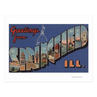 Springfield, Illinois - Large Letter Scenes Postcard