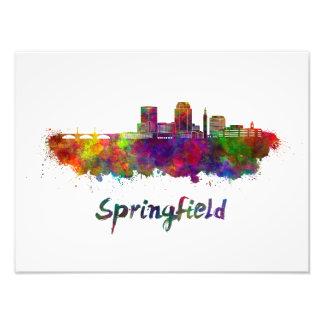 Springfield MA skyline in watercolor Photo Print