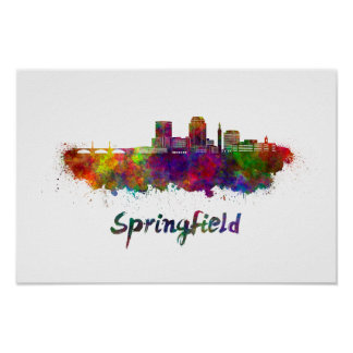 Springfield MA skyline in watercolor Poster