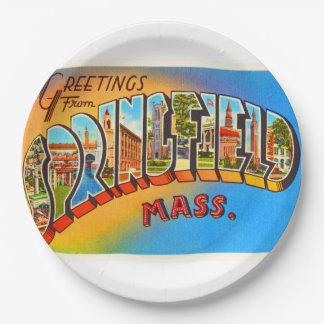 Springfield Massachusetts MA Old Travel Souvenir 9 Inch Paper Plate