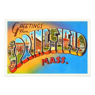 Springfield Massachusetts MA Old Travel Souvenir Art Photo