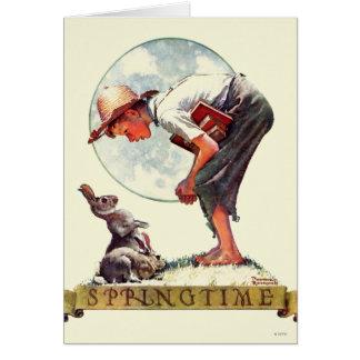 Springtime, 1935 boy with bunny card