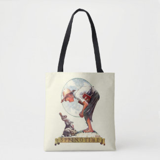 Springtime, 1935 boy with bunny tote bag