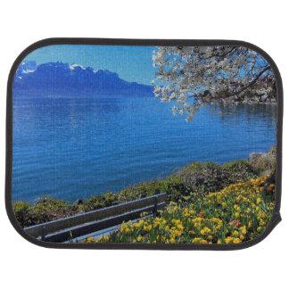 Springtime at Geneva or Leman lake, Montreux, Swit Car Mat