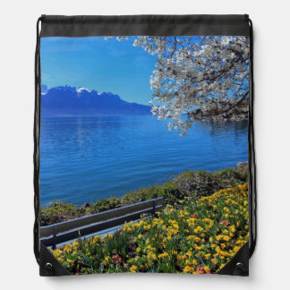 Springtime at Geneva or Leman lake, Montreux, Swit Drawstring Bag