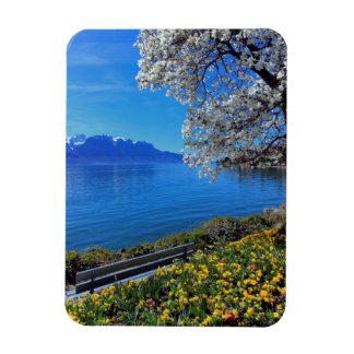 Springtime at Geneva or Leman lake, Montreux, Swit Magnet
