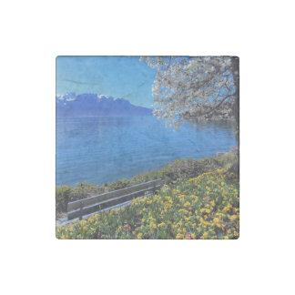 Springtime at Geneva or Leman lake, Montreux, Swit Stone Magnet