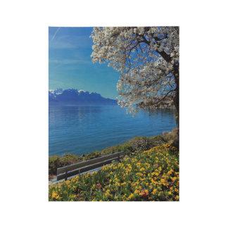 Springtime at Geneva or Leman lake, Montreux, Swit Wood Poster