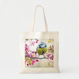 Springtime Bird Monogram Tote Bag