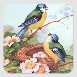 Springtime Bluebirds Nest Sticker