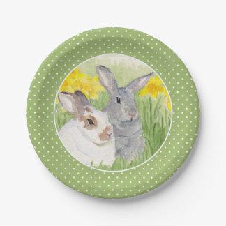 Springtime Bunnies in Flowers Paper Plate