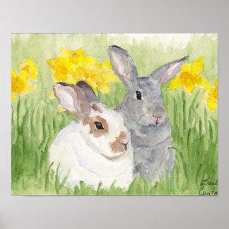 Springtime Bunnies in Flowers Poster