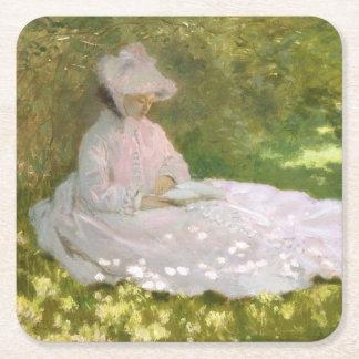 Springtime by Claude Monet Square Paper Coaster