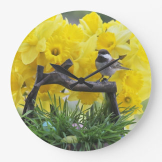 Springtime chickadee large clock