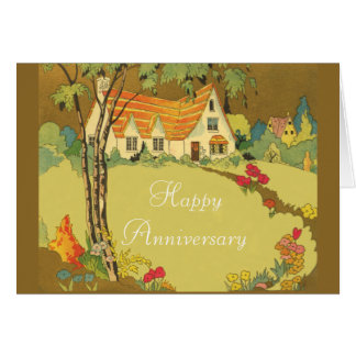 Springtime Cottage Home Buying Anniversary Card