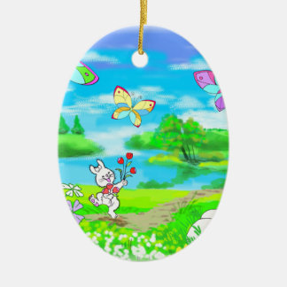 Springtime Easter Bunny Chick Butterflies Ceramic Ornament
