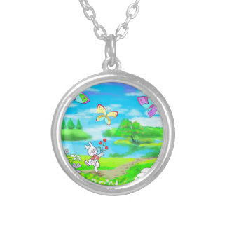 Springtime Easter Bunny Chick Butterflies Silver Plated Necklace