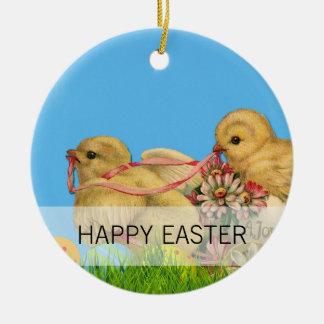 Springtime Easter Chicks Ceramic Ornament