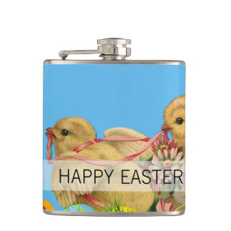 Springtime Easter Chicks Hip Flask