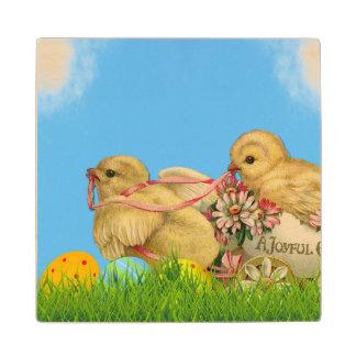 Springtime Easter Chicks Wood Coaster