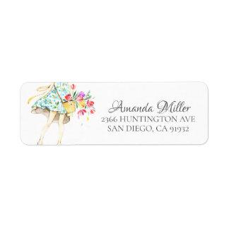 Springtime Fashion Girl Return address Return Address Label