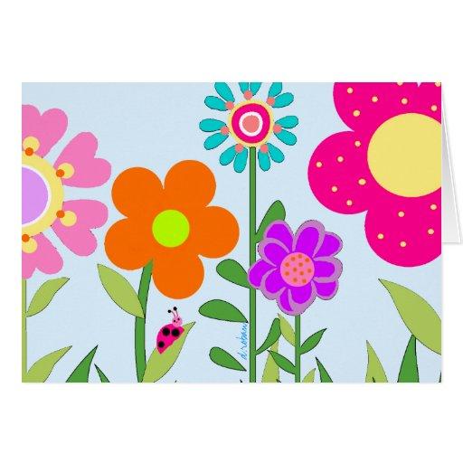 Springtime Flowers & Lady Bug Greeting Card