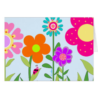 Springtime Flowers & Lady Bug Note Card