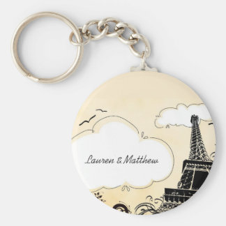 Springtime in Paris Eiffel Tower Basic Round Button Key Ring