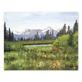 SPRINGTIME IN THE CANADIAN ROCKIES WATERCOLOR PHOTO PRINT