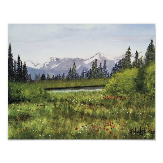 SPRINGTIME IN THE CANADIAN ROCKIES WATERCOLOR POSTER