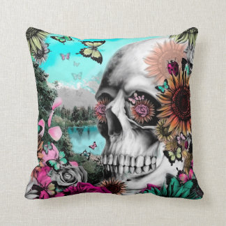 Springtime Landscape Skull with butterflies Cushion
