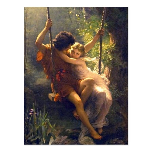 Springtime ~ Lovers on Swing Painting Post Cards