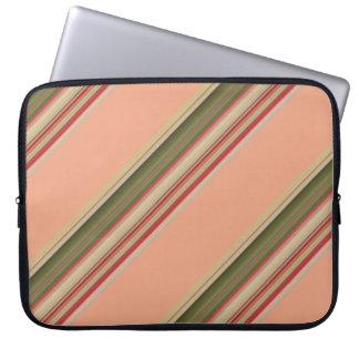 Springtime Peach Green Diagonal Stripes Pattern Computer Sleeves