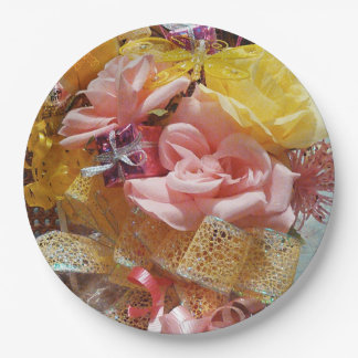 Springtime Pink Roses & Yellow Bow Paper Plates