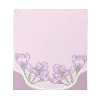 Springtime Purple Crocus Flowers Notepad