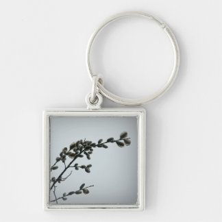 Springtime Pussy Willow Catkins Silver-Colored Square Key Ring