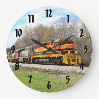 Springtime Train Large Clock