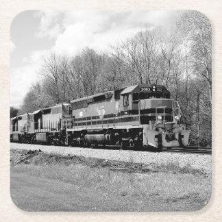 Springtime Train Square Paper Coaster