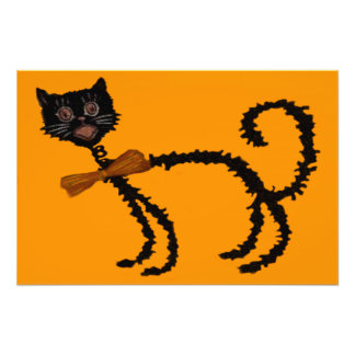 Springy Black Cat Halloween Decoration Photo Print