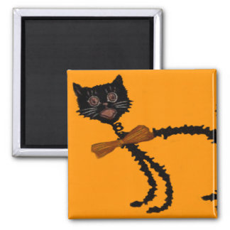 Springy Black Cat Halloween Decoration Square Magnet