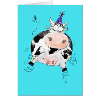 Springy Cow Cartoon Happy Birthday Card