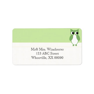 Springy Green Owl Address Label