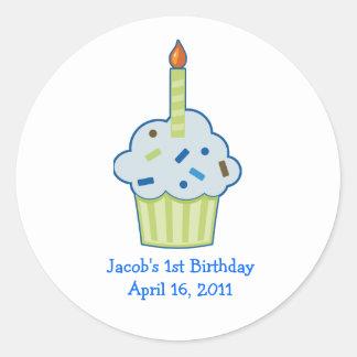 Sprinkle Cupcake 1st First Birthday Favour Round Sticker