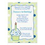 "Sprinkle Cupcake 5x7 Boy 1st Birthday Invitation 5"" X 7"" Invitation Card"