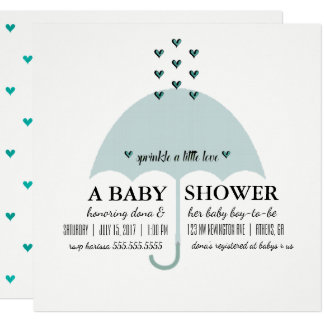 Sprinkle Love Baby Blue Shower Invitation