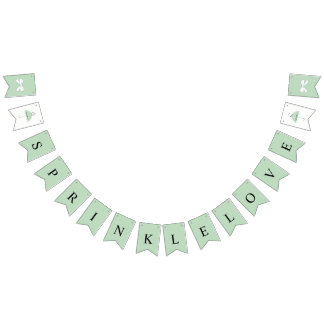 Sprinkle Love Green Shower Party Bunting Banner