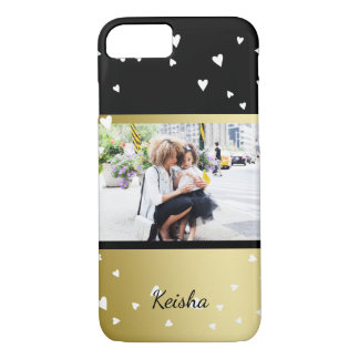 Sprinkled Hearts | Black Faux Gold | Custom Photo iPhone 8/7 Case