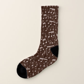 Sprinkled Musical Note Pattern on Brown Socks