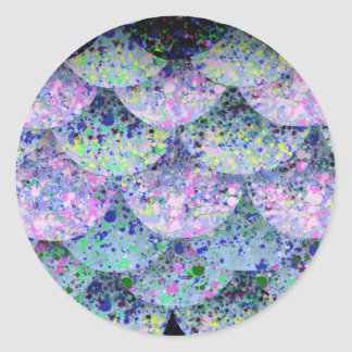 Sprinkled Paper Mermaid Scales Classic Round Sticker